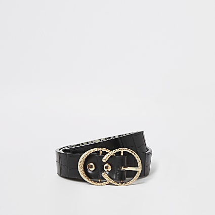 Black textured mini horseshoe buckle belt