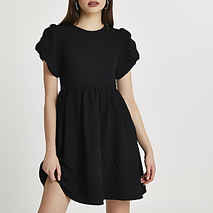 Black textured puff sleeve mini dress