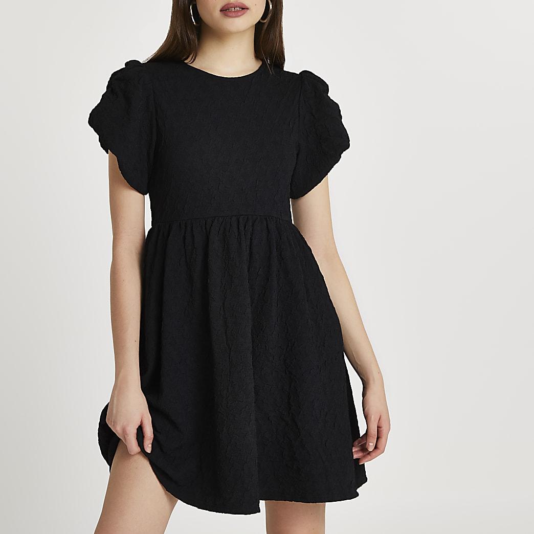 Black textured puff sleeve mini dress
