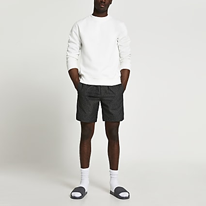Black textured pull on shorts