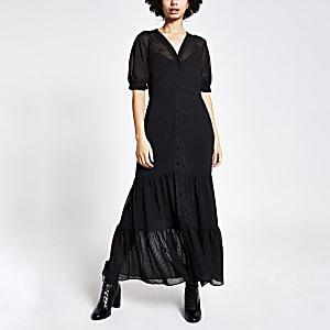 Robe chemise longue texturée à smocks noire