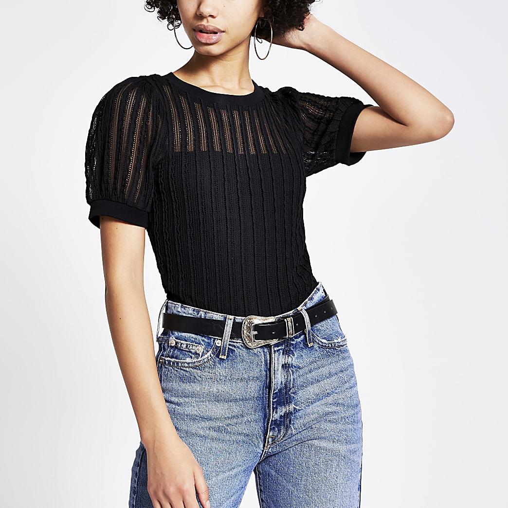 T-shirt texturéà manches courtes bouffantes noir