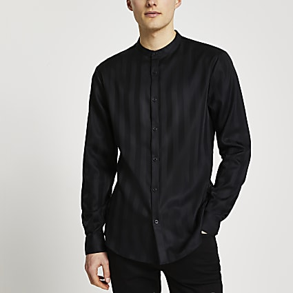 Black textured slim fit grandad collar shirt