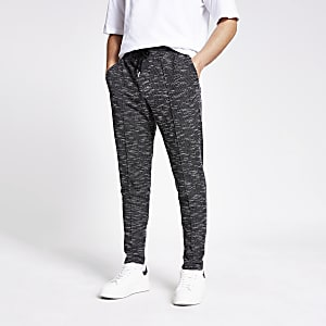Black textured slim fit joggers