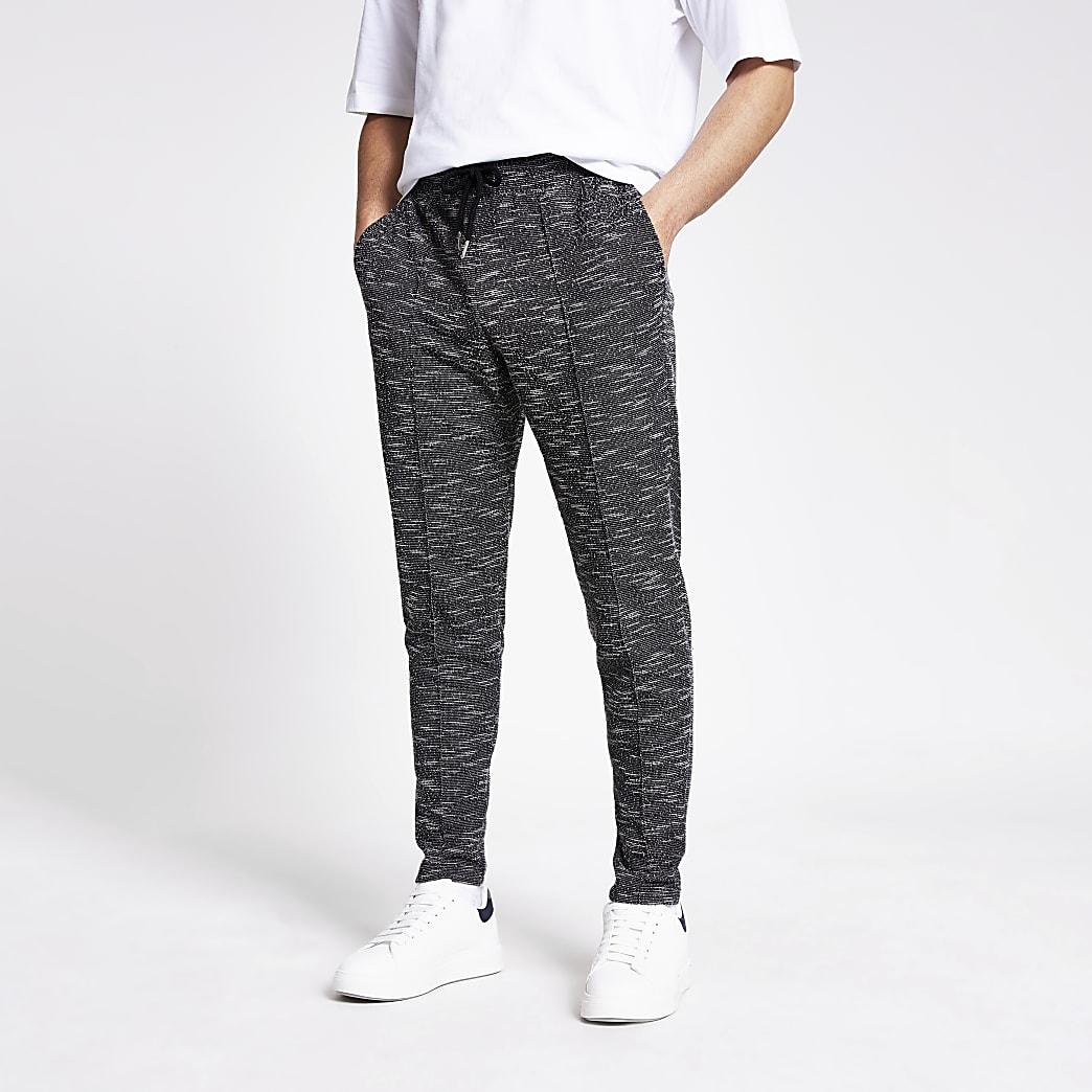 Black textured slim fit joggers