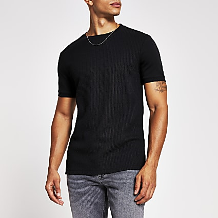 Black textured slim fit T-shirt