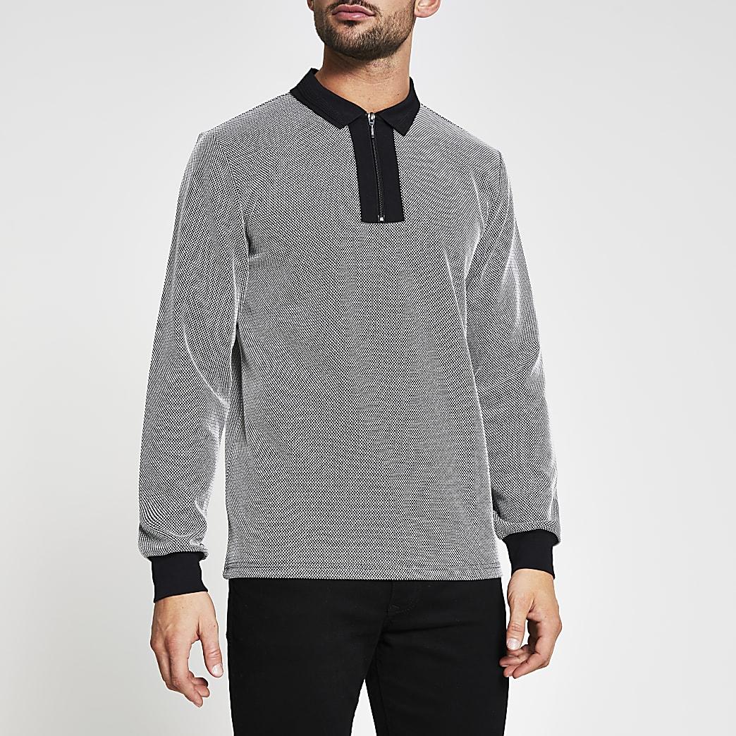 Black textured slim long sleeve polo shirt