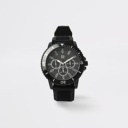 Black textured strap sporty watch