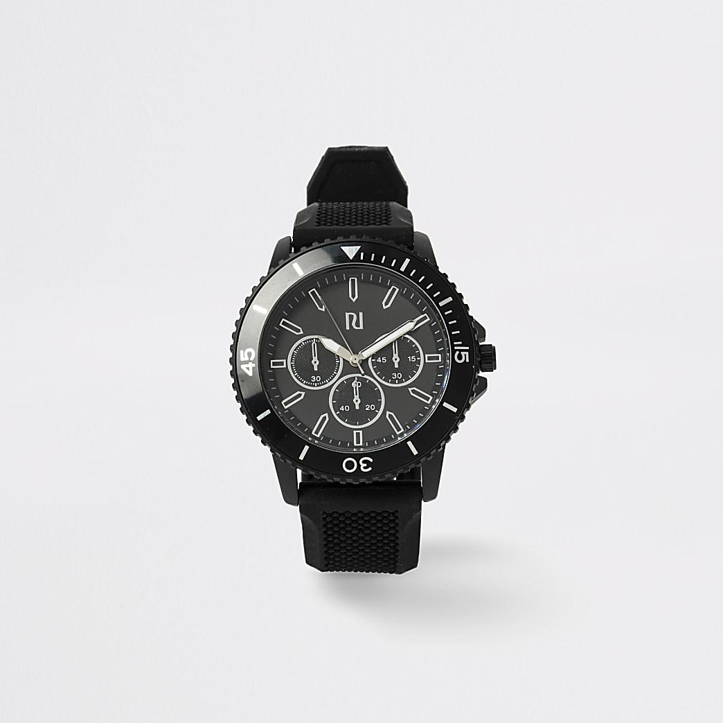 Zwart sportief horloge met bandje met textuur