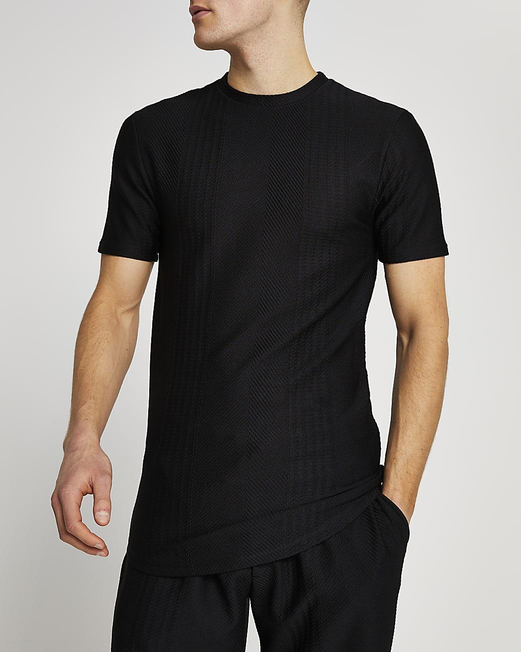 Black textured stripe slim fit t-shirt