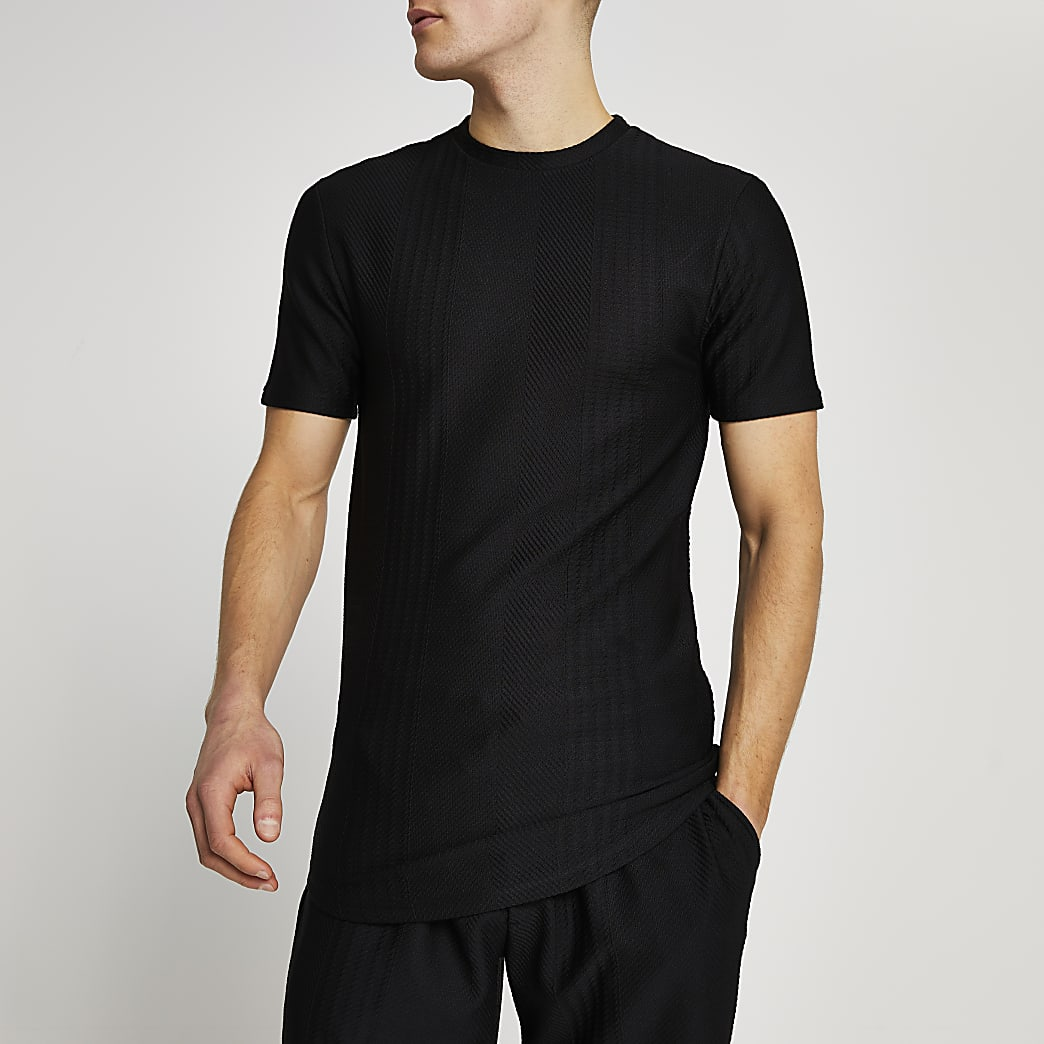 Black textured stripe slim fit t-shirt