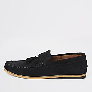 Black textured suede tassel loafers