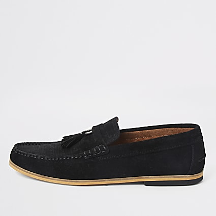 Black textured suede tassel loafers