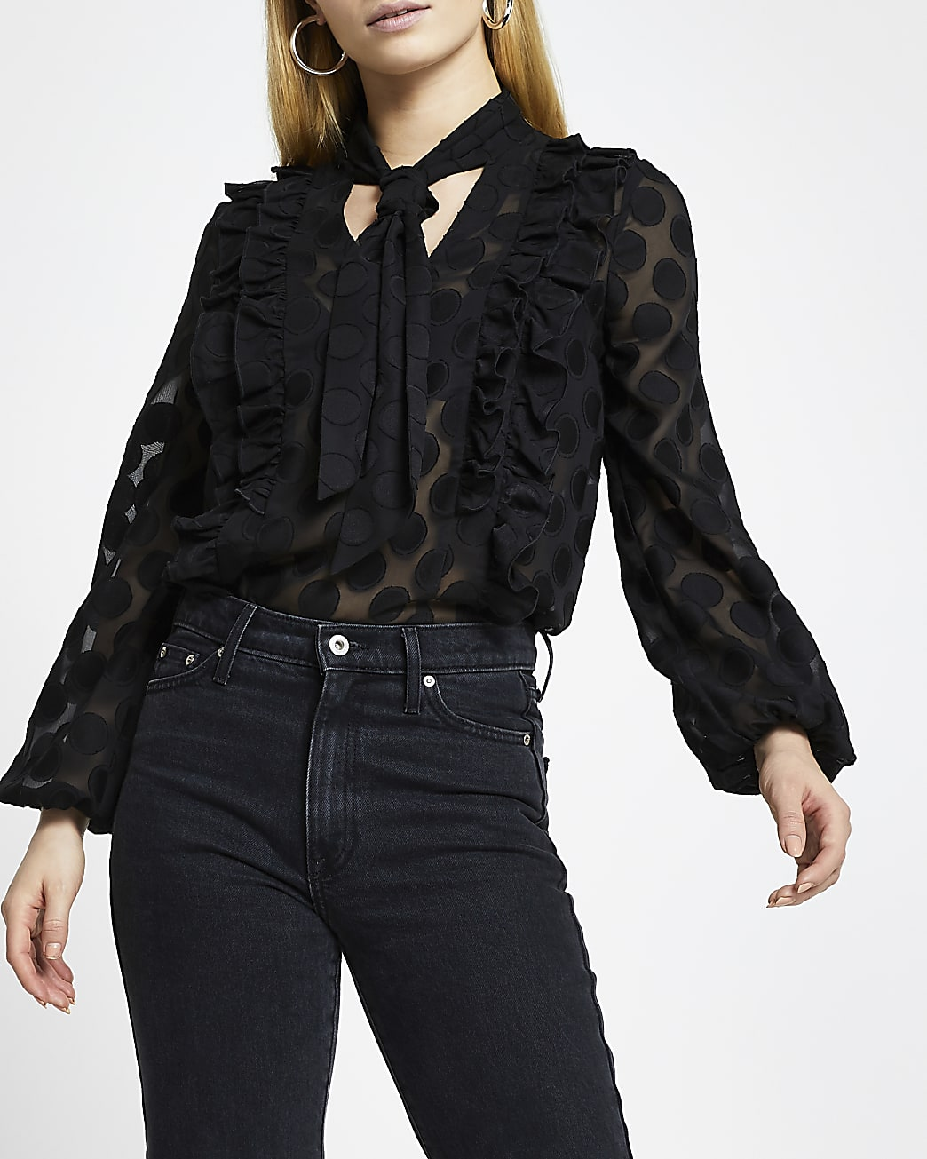 Black textured tie front bow blouse top