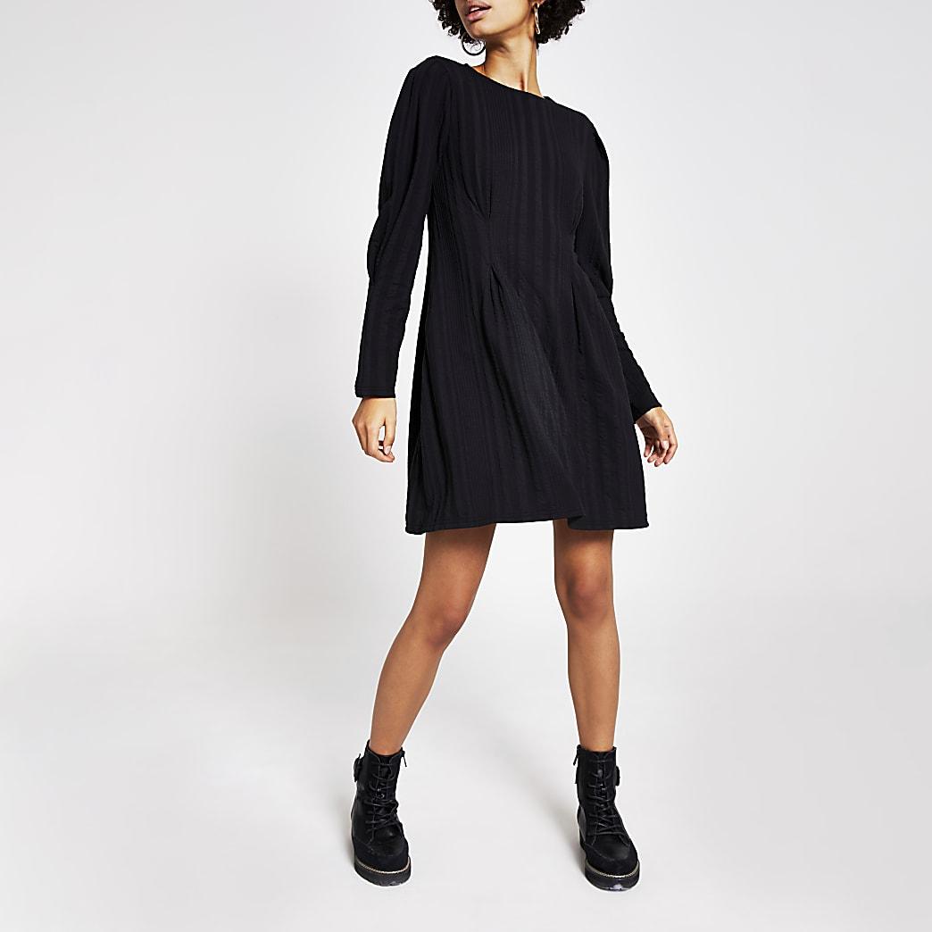 Black textured waisted mini dress