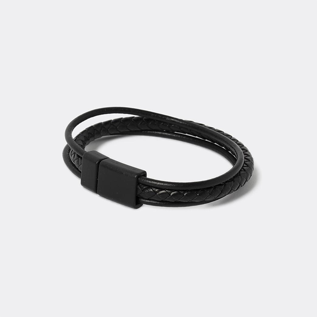 Bracelet texturé noir