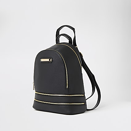 Black textured zip bottom backpack