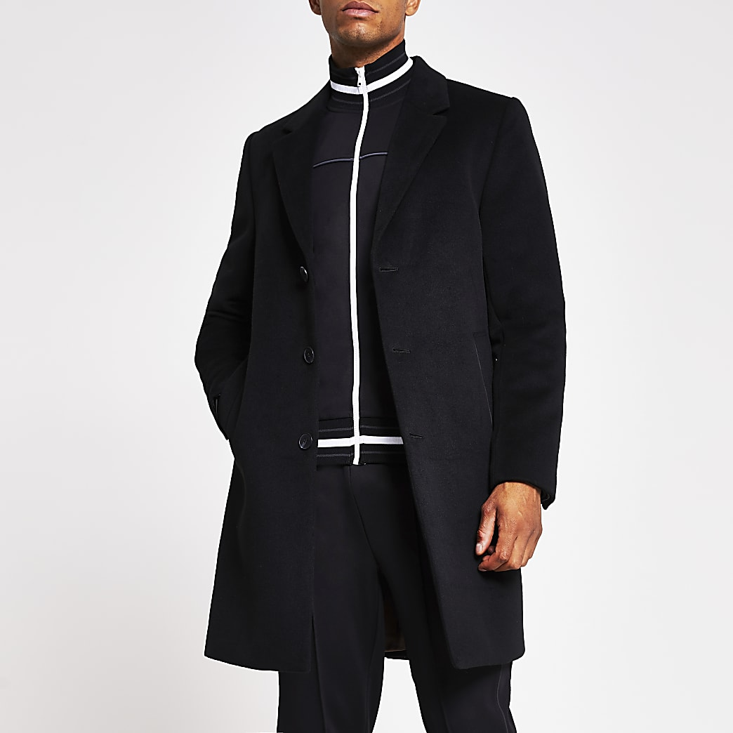 Black three button overcoat