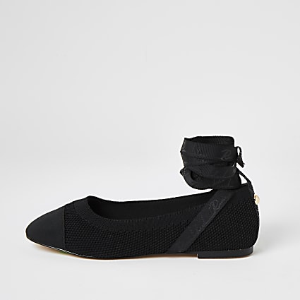 Black tie ankle knitted ballet shoes