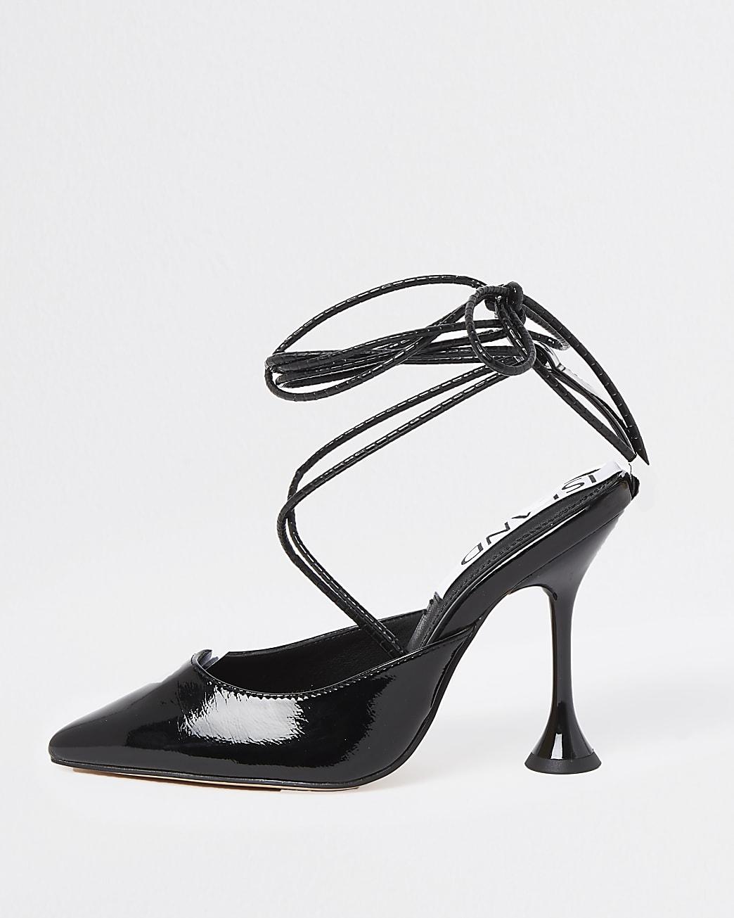 Black tie detail court shoes