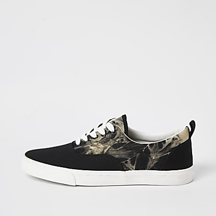 Black tie dye lace-up trainers