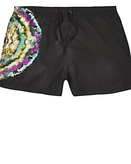 Black tie dye neon print swim short