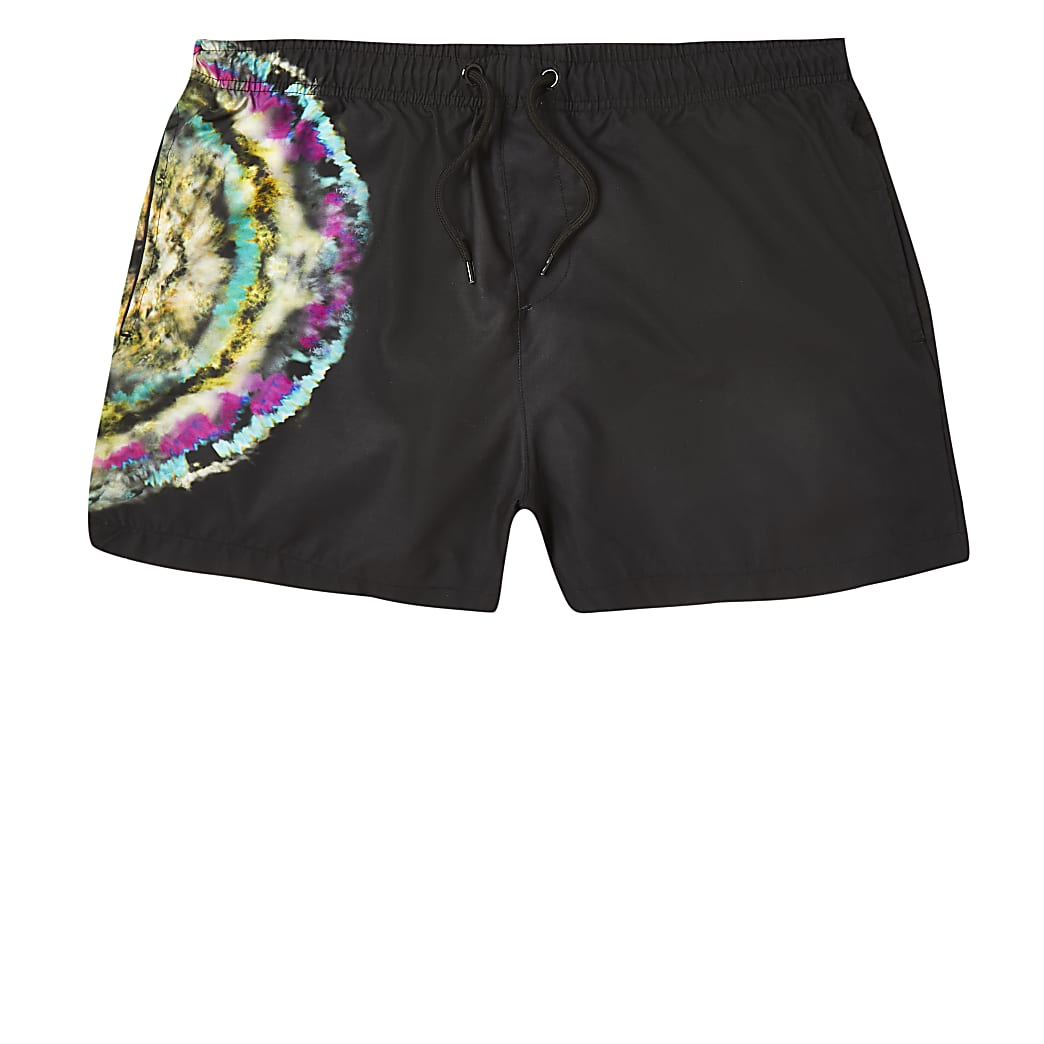 Black tie dye neon print swim short