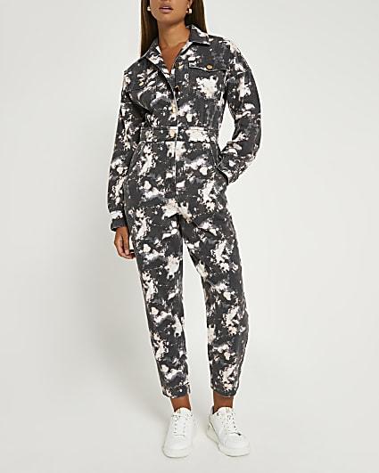 Black tie dye print jumpsuit