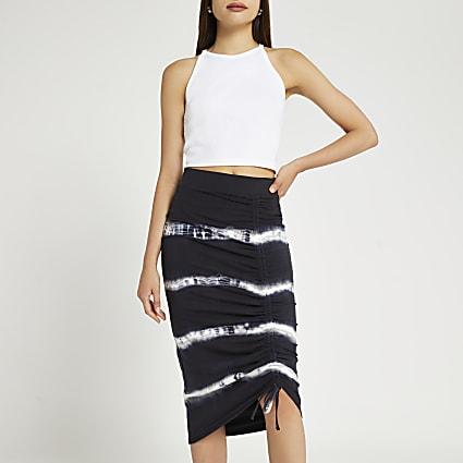 Black tie dye ruched midi skirt