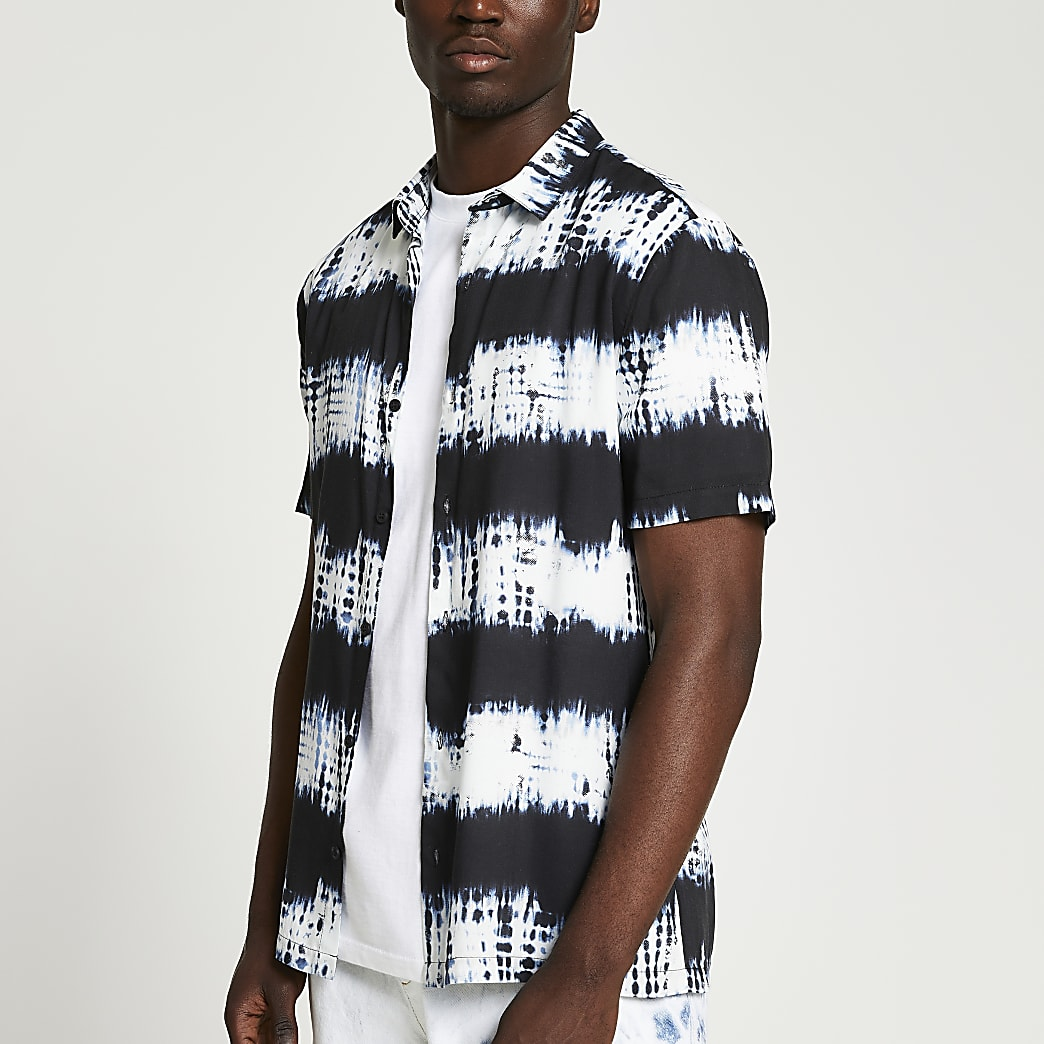 Black tie dye short sleeve shirt