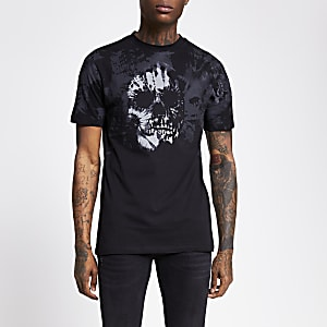 Gebatiktes Slim Fit T-Shirt in Schwarz mit Totenkopf-Print