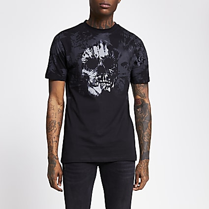 Black tie dye skull print slim fit T-shirt