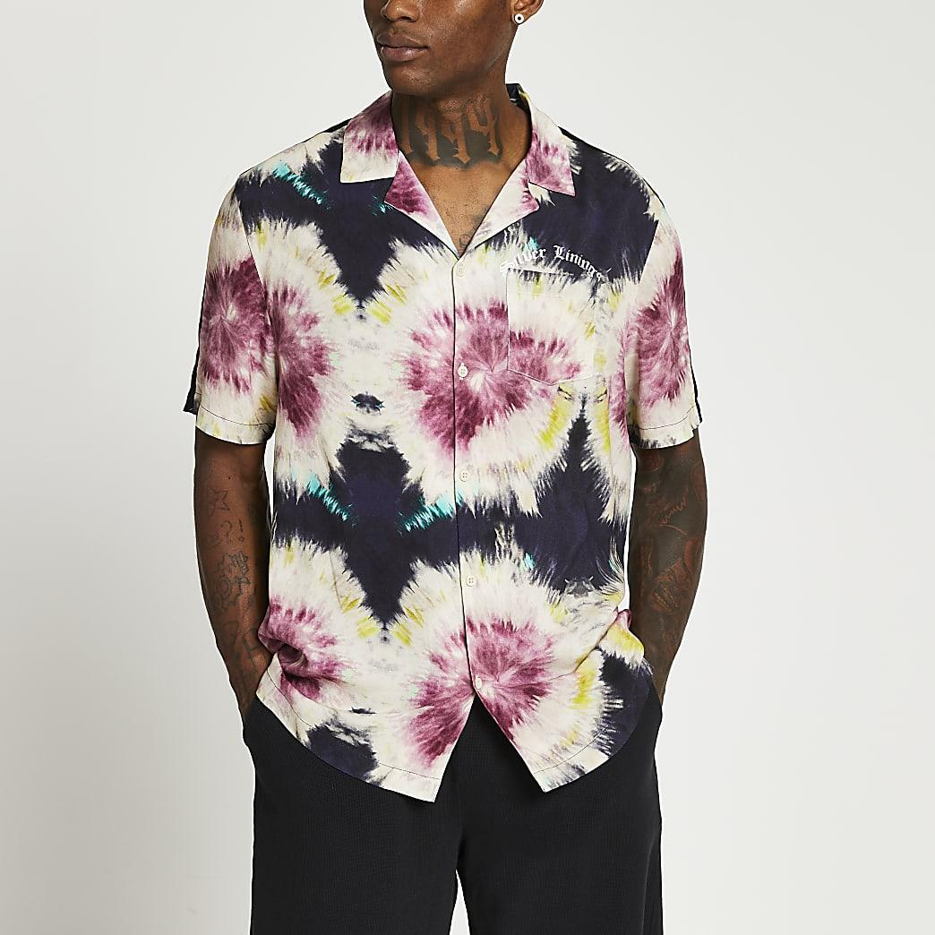 Black tie dye slim fit short sleeve shirt