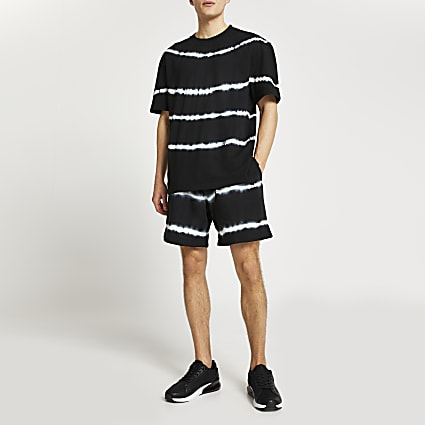 Black tie dye t-shirt and shorts set