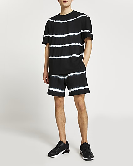 Black tie dye t-shirt and shorts set