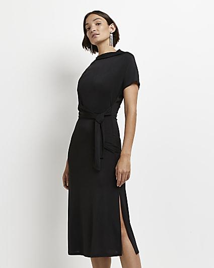 Black tie front batwing midi dress