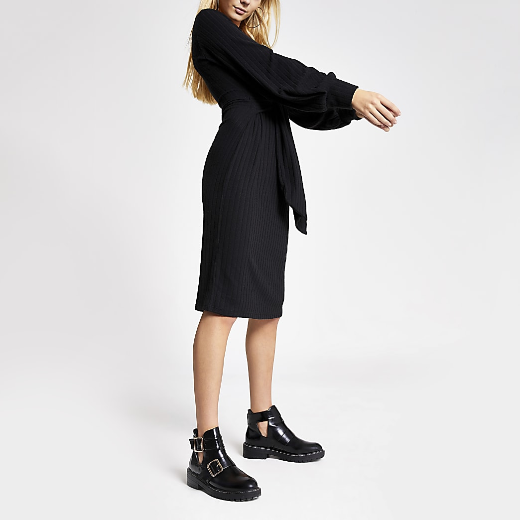 Black tie front long sleeve ribbed dress