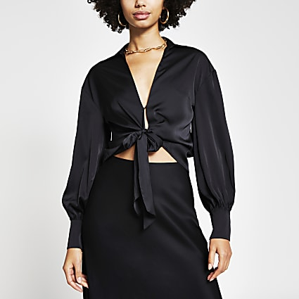 Black tie front long sleeve shirt