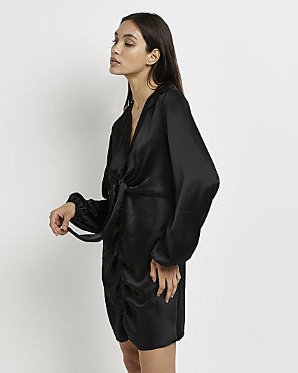 Black tie front mini dress