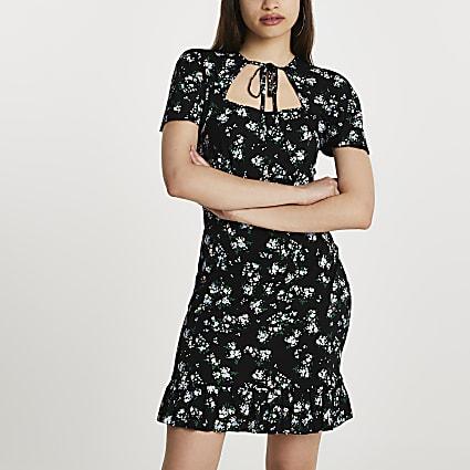 Black tie neck ditsy floral mini dress