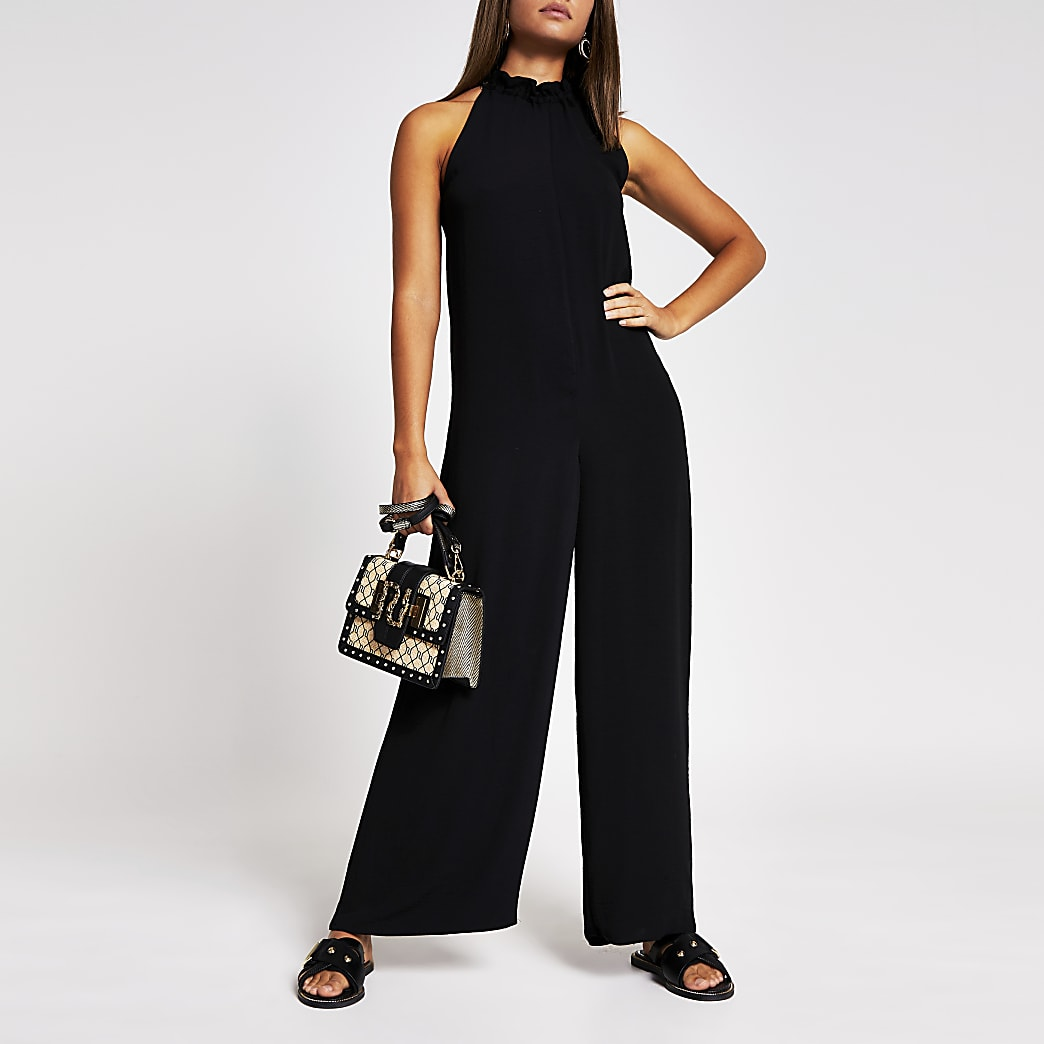 Black tie neck jumpsuit