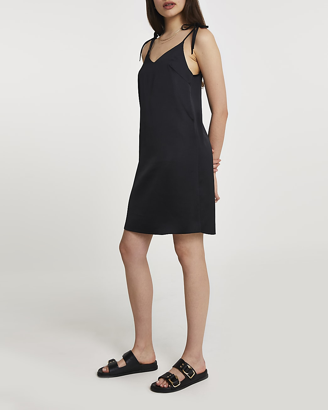 Black tie strap mini slip dress