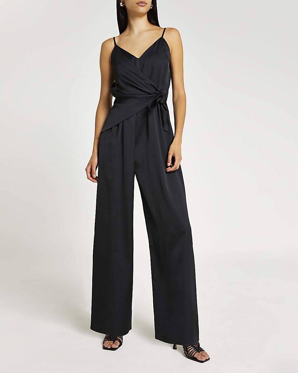 Black tie waist jumpsuit