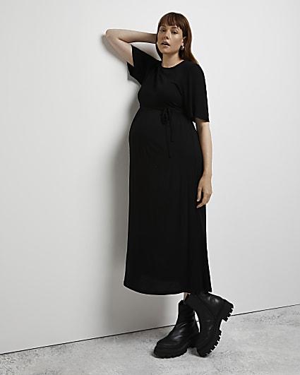 Black tie waist maternity dress