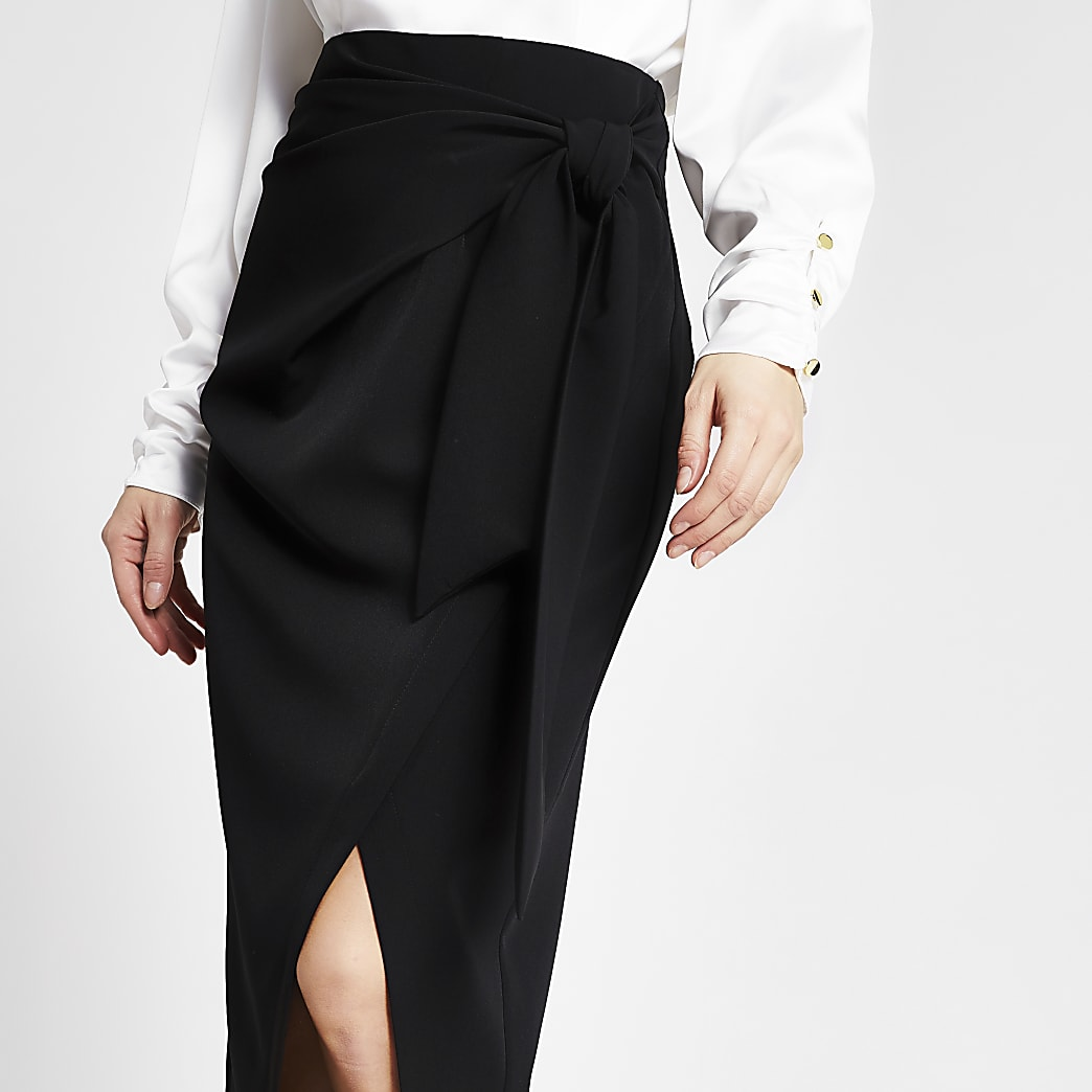 Black tie wrap pencil midi skirt