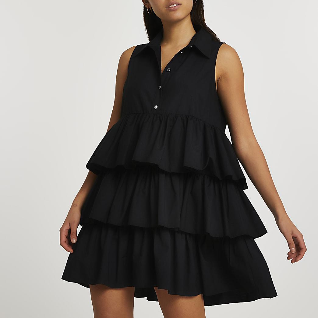 Black tier mini smock dress