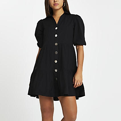 Black tier shirt mini dress