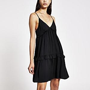 Black tiered cami swing mini dress