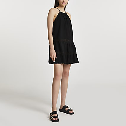 Black tiered halter mini cover up dress