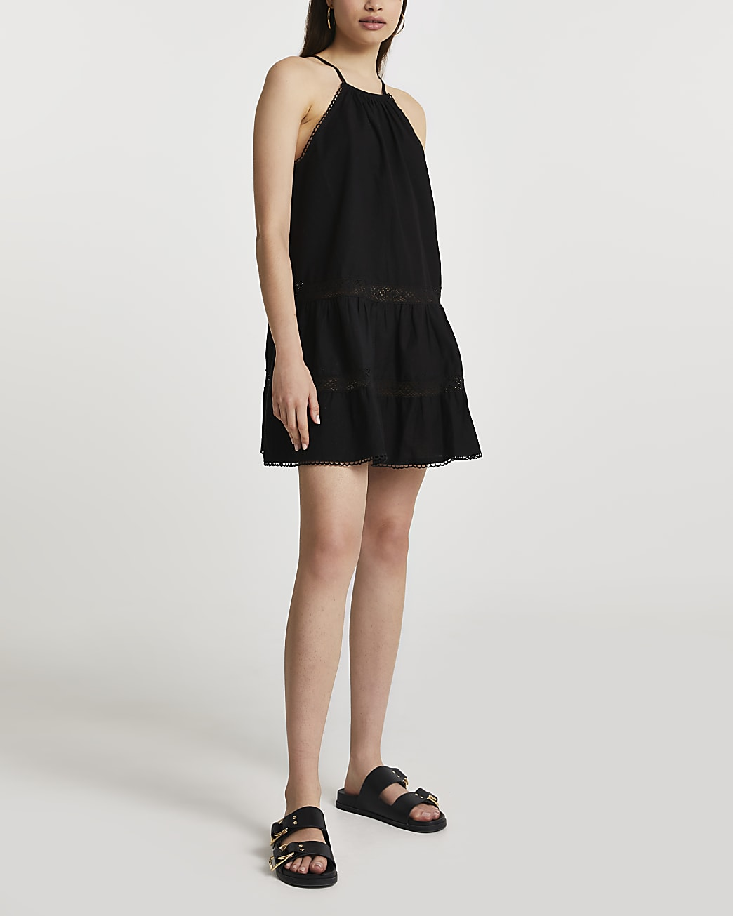 Black tiered halter mini swing beach dress